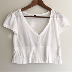 Free People White Cropped Short Sleeve Henley Top